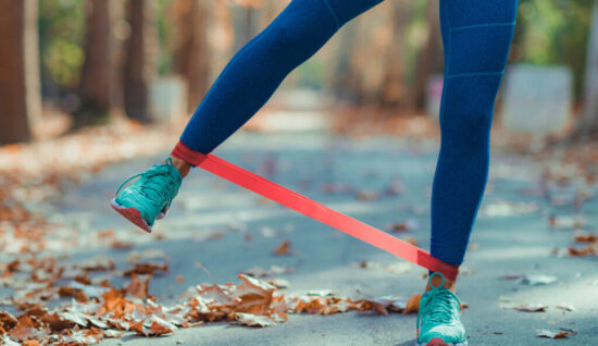 exercising with resistance band